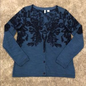 Anthropologie Moth Embroidered Cardigan Sweater